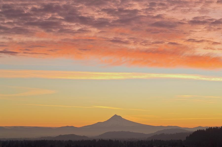 Sunrise Over Mount Hood From Mount Tabor Photograph by Design Pics / Dan Sherwood