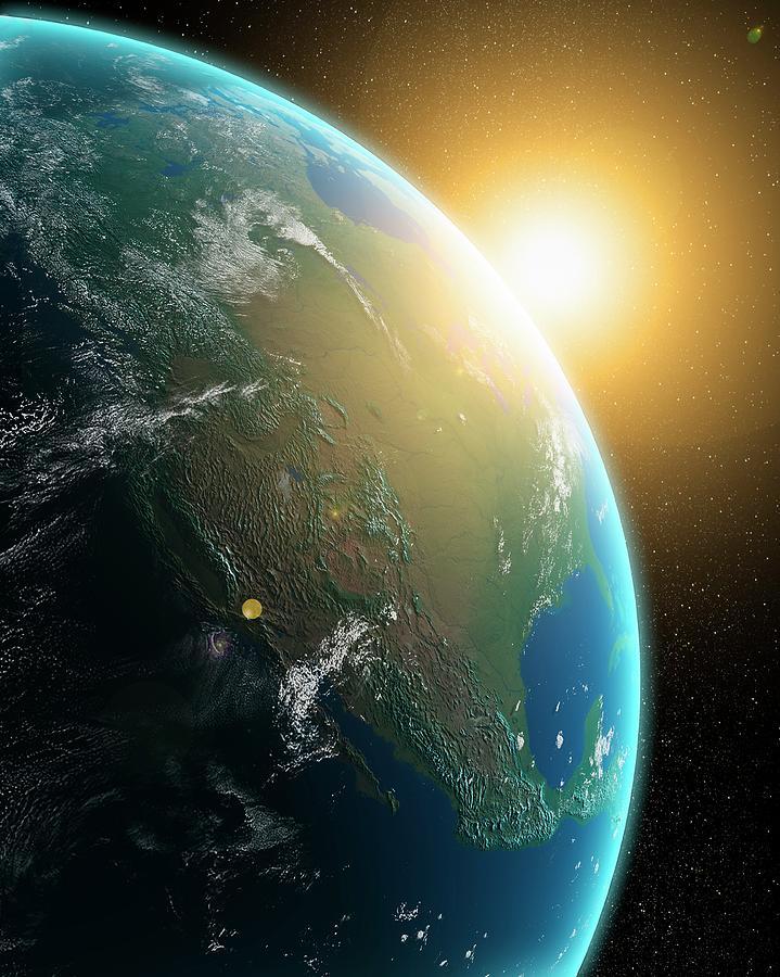 Sunrise Over North America, Artwork Digital Art by Andrzej Wojcicki