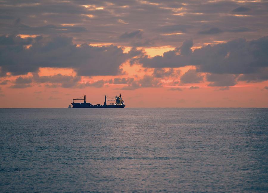 Sunrise Over Ocean, At Miami Beach Photograph by Anouchka