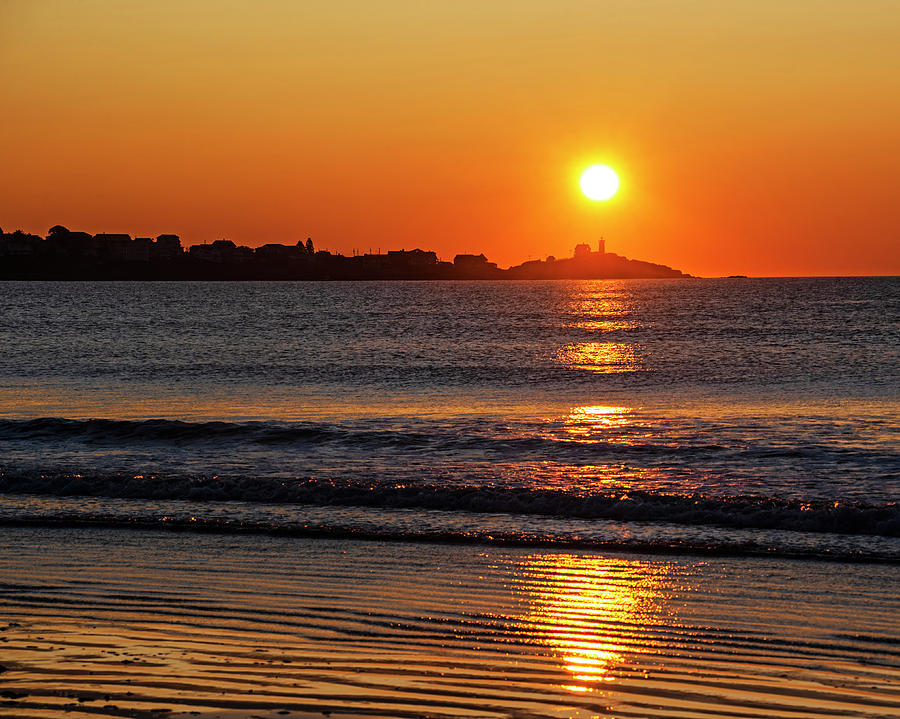 York Photograph - Sunrise Over The Nubble Lighthouse From Long Sands Beach Long Beach York Maine by Toby McGuire