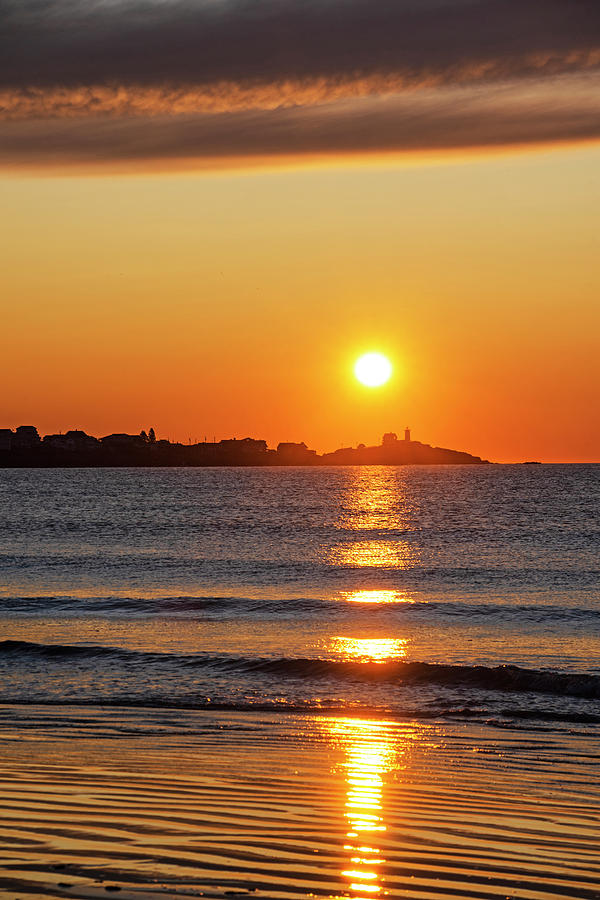 York Photograph - Sunrise Over The Nubble Lighthouse From Long Sands Beach Long Beach York Maine Vertical by Toby McGuire