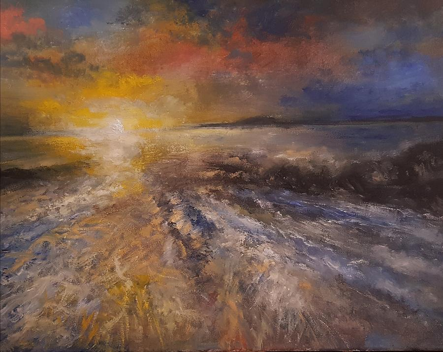 Sunrise Over The Ocean Painting by Michael Hanrahan