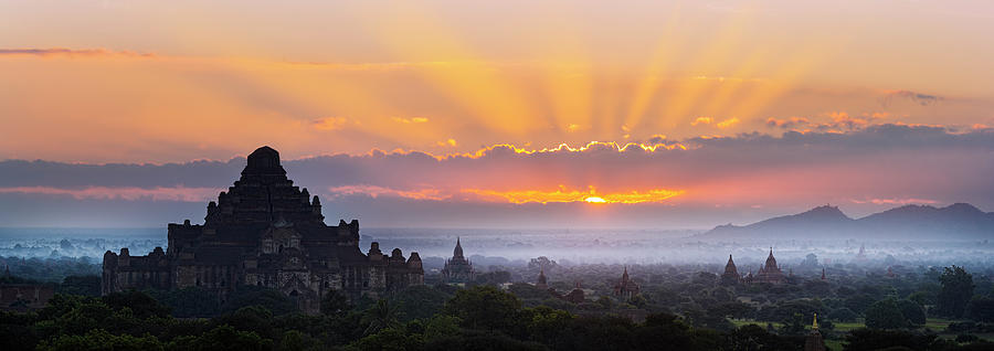 Tranquility Photograph - Sunrise Over The Temples Of Bagan by Jon Hicks