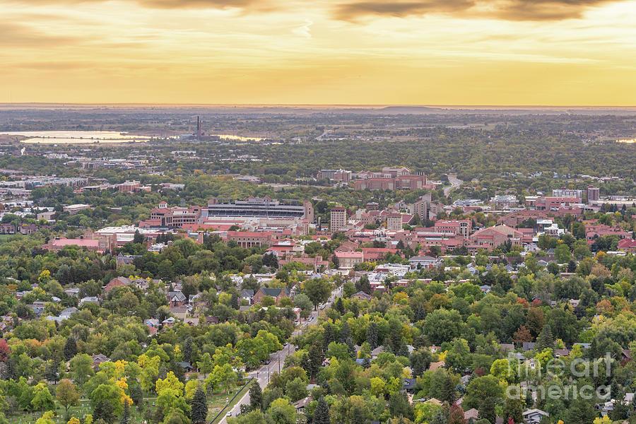 Sunrise over University of Colorado Boulder from Flagstaff Mountain by Silvio Ligutti