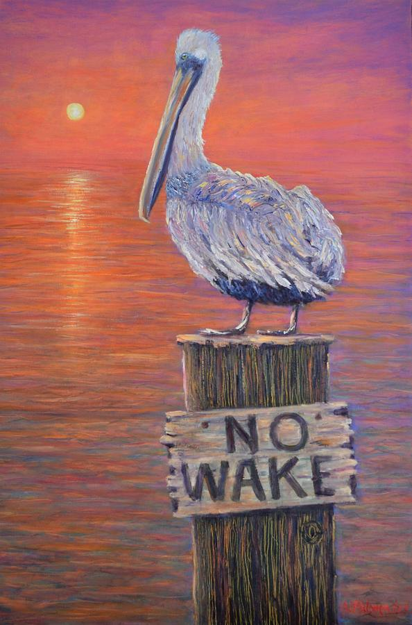 Sunrise Pelican Painting Coastal Beach Decor by Amber Palomares