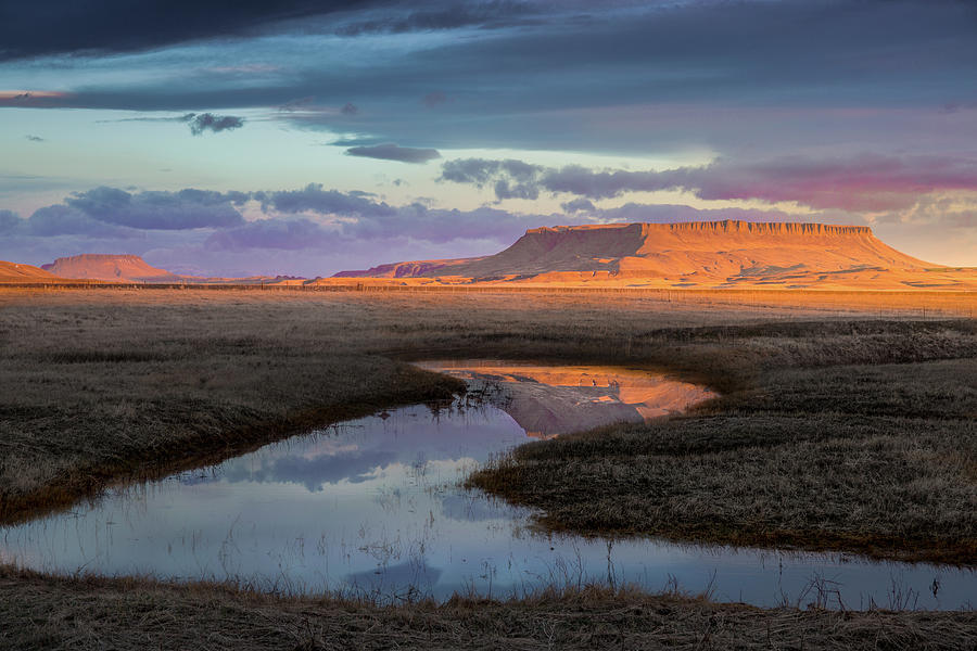 Sunrise Reflection / Square Butte, Montana  by Nicholas Parker