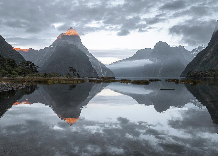 Mountain Reflections During Cloudy Sunrise In Milford Sound New Zealand  by Peter Kolejak