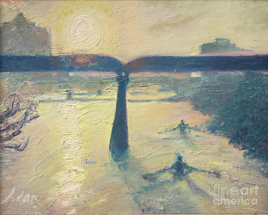 Licensing Painting - Sunrise Rowers on Lady Bird Lake Austin by Felipe Adan Lerma