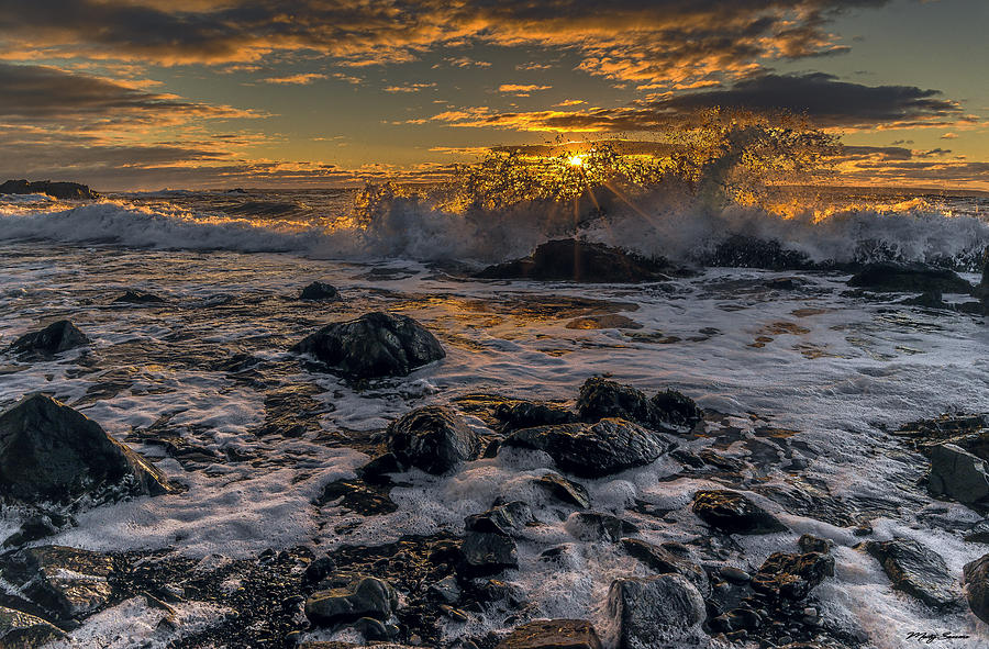 Sunrise Surf at Quoddys Cobble Beach by Marty Saccone