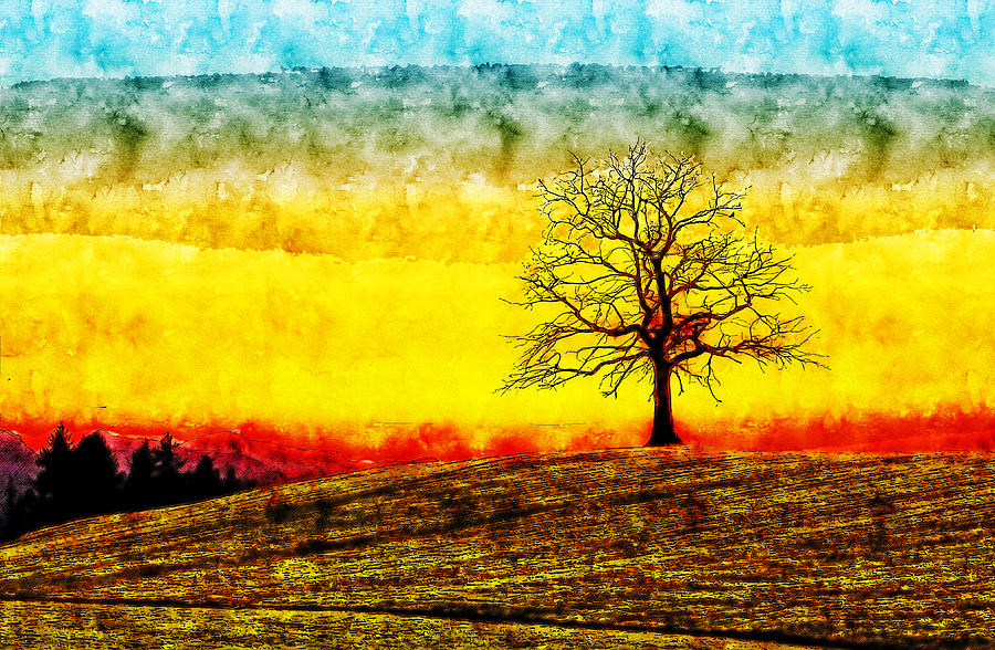 Sunrise Tree watercolor drawing by Hasan Ahmed