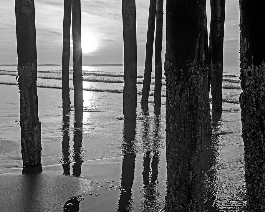 Old Photograph - Sunrise Under The Old Orchard Beach Pier Maine Black And White by Toby McGuire