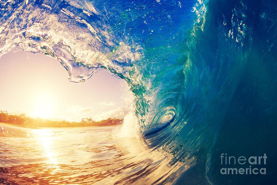 Tide Photograph - Sunrise Wave Tropical Island Atoll by Epicstockmedia