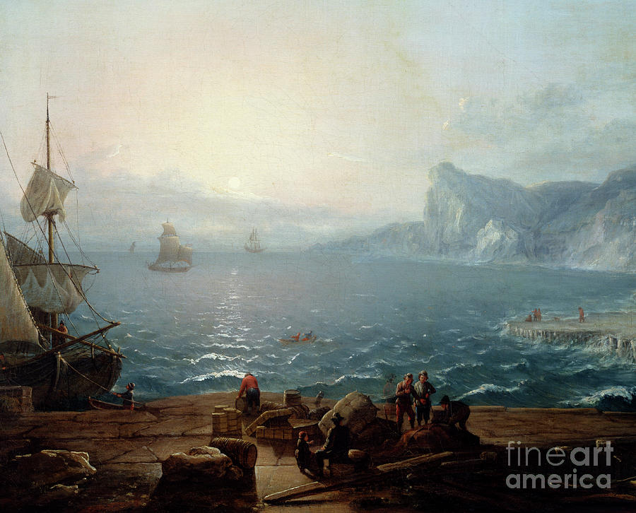 Dusk Painting - Sunset, A Landscape Of Cliffs And Rocks On The Sea, With Fishermen In The Foreground by Antoine Lebel