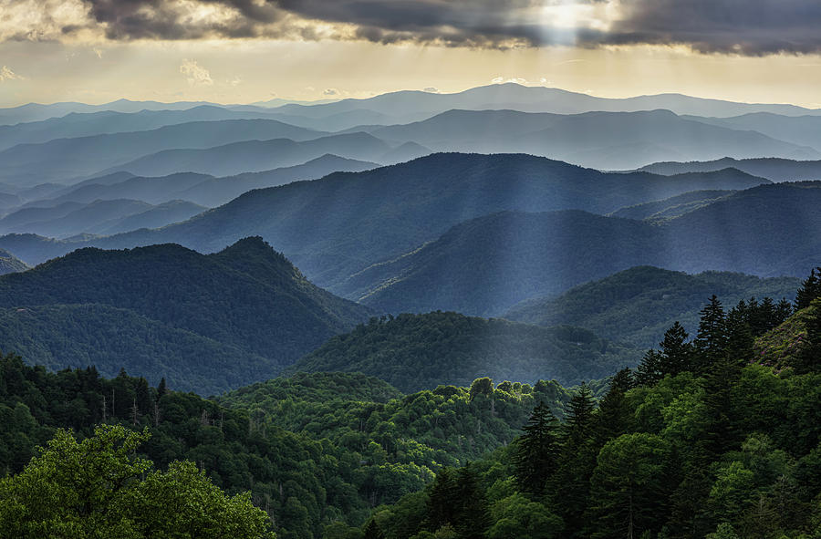 Sunset along the Blue Ridge Parkway in the Southern Appalachians by Carl Amoth