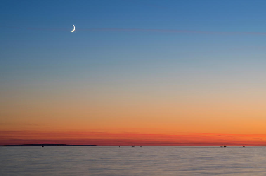 Sunset And Moon Over The Adriatic Sea By Otto Stadler