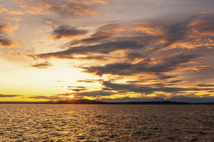 Sunset at Alki Beach by Michael Lee