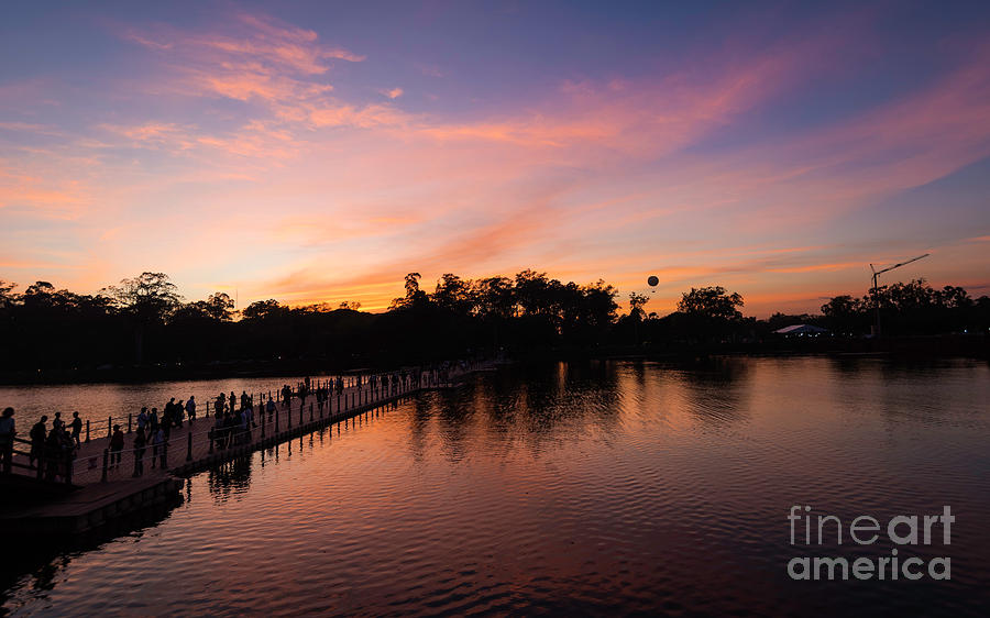 Sunset Digital Art - Sunset At Angkor Wat by Pravine Chester