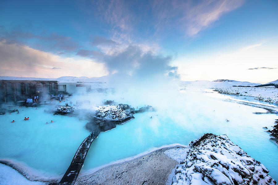 Sunset at Blue lagoon geothermal spa in Iceland by Suranga Weeratunga