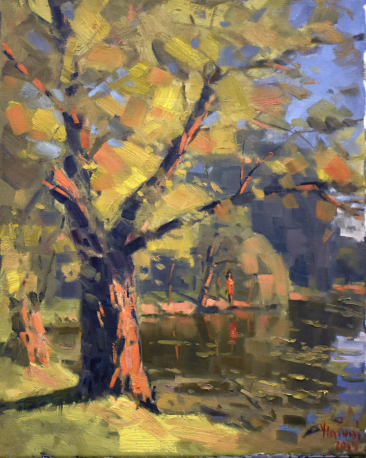 Sunset Painting - Sunset At Bond Lake Park by Ylli Haruni
