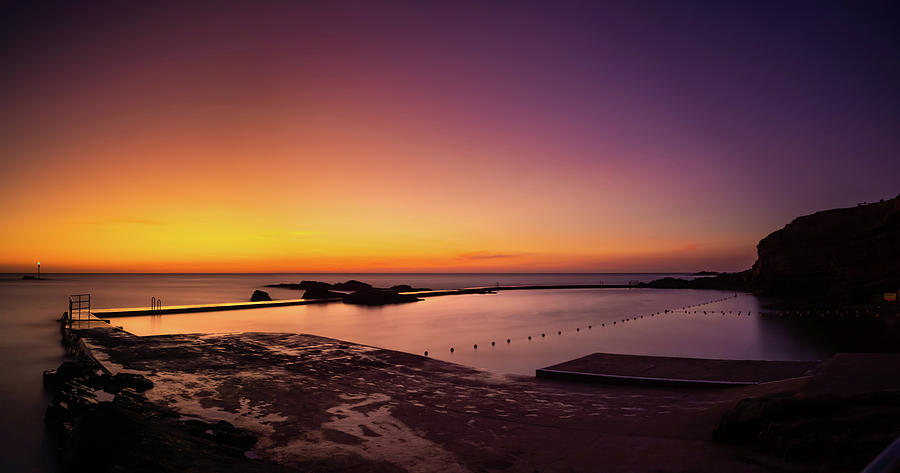 Sunset at Bude Seapool Cornwall. by Maggie McCall