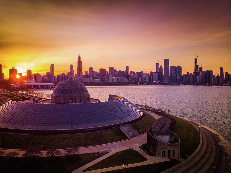 Sunset at Chicago Planetarium by Bobby King