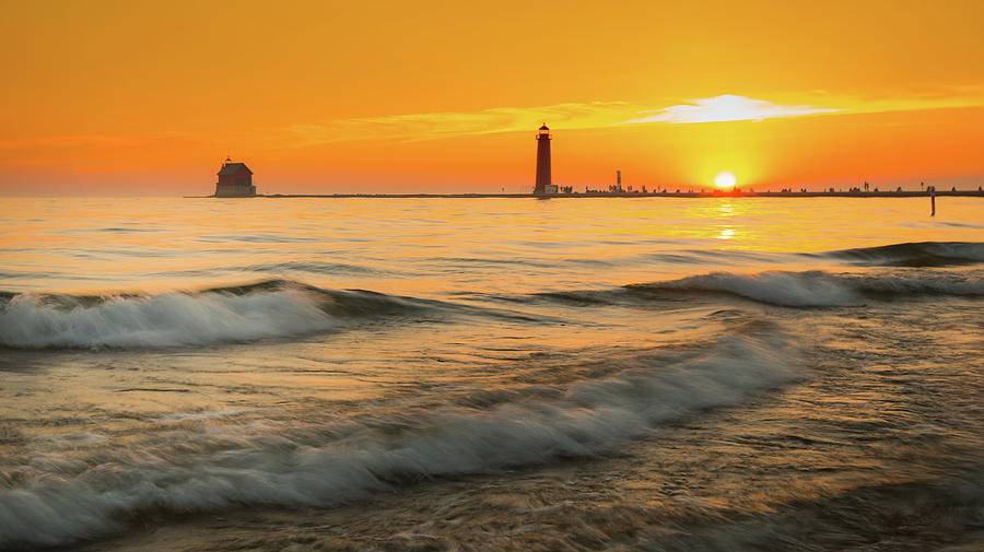 Sunset At Grand Haven by Dan Sproul