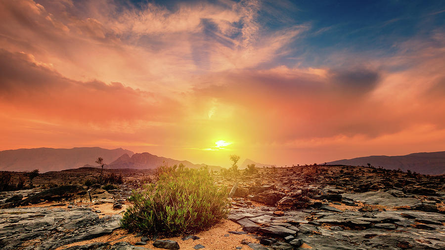 Sunset At Jebel Shams In Oman Photograph