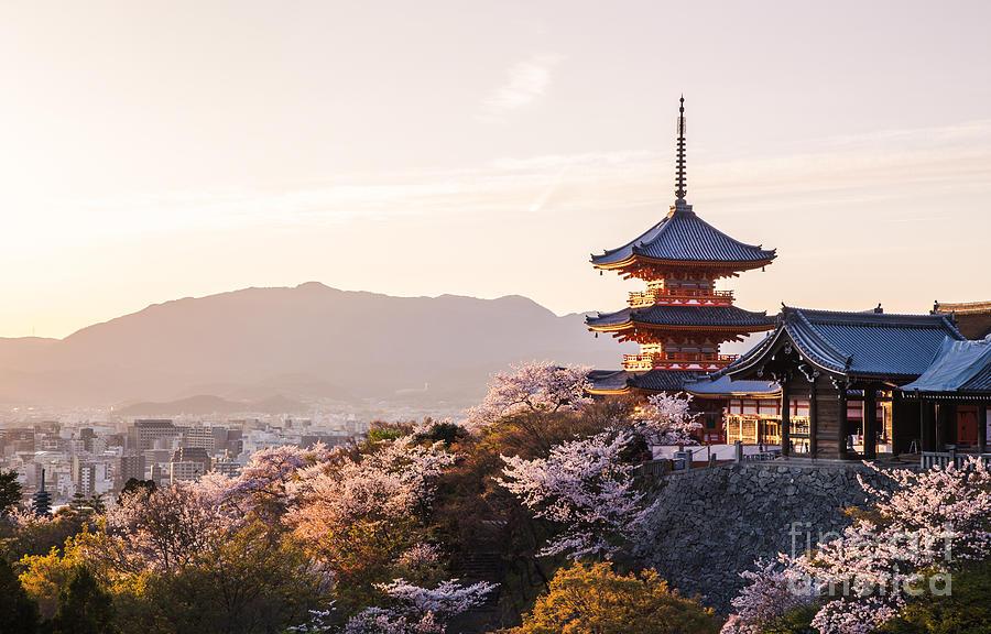 Japan Photograph - Sunset At Kiyomizu-dera Temple And by Thipjang