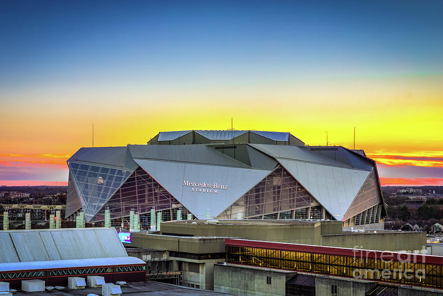 Sunset at Mercedes Benz Stadium Atlanta GA by SANJEEV SINGHAL