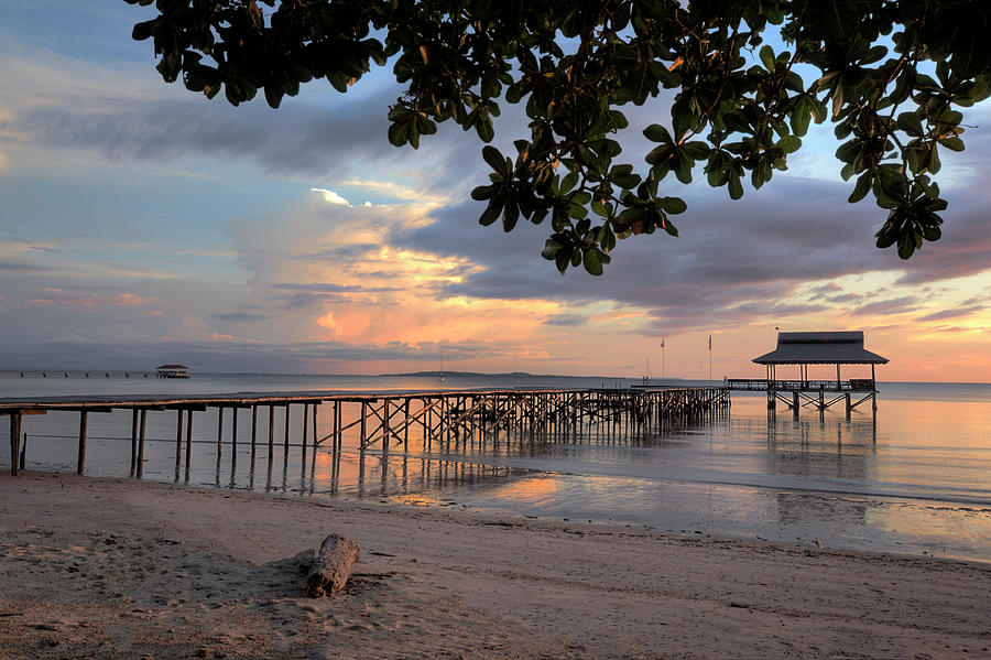 Sunset At Pier In Borneo, Malaysia Photograph by Robas