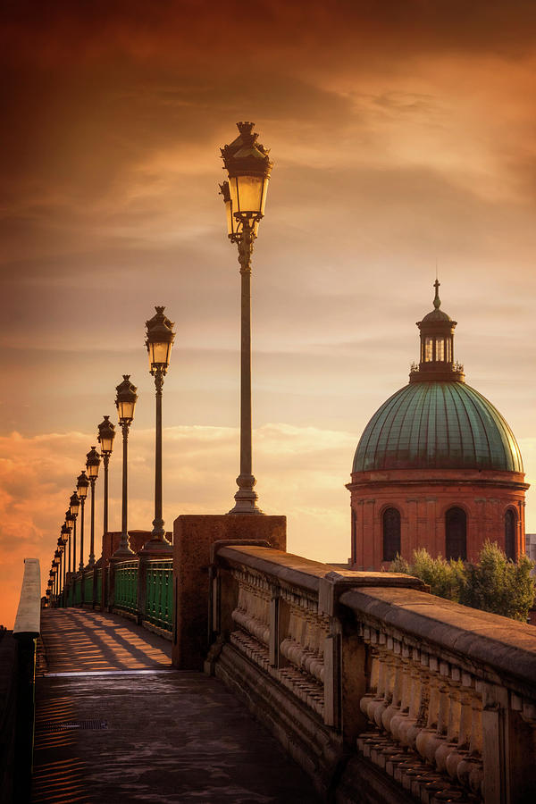 Sunset at Pont Saint Pierre Toulouse France  by Carol Japp