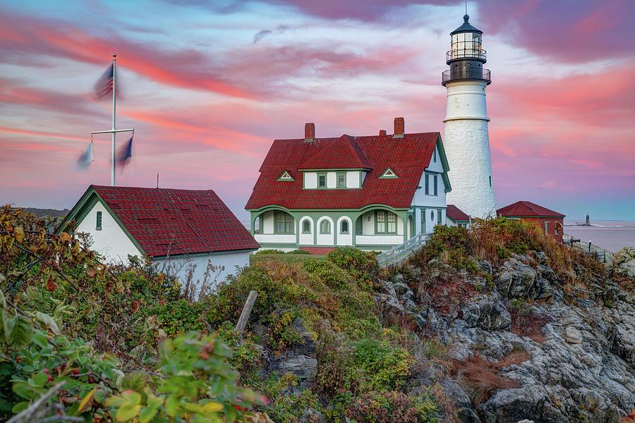 Sunset At Portland Head Light - Maine Photograph
