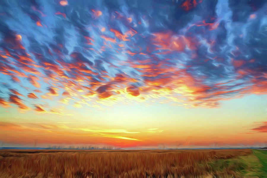 Sunset at Riverlands W Alton MO_Photo Painting GRK1053_11292018  by Greg Kluempers