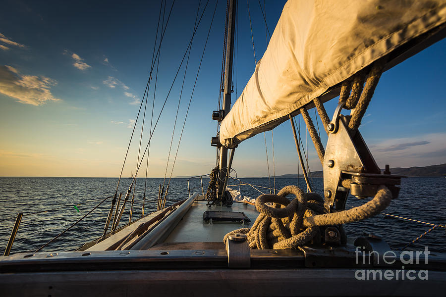Sailboat Photograph - Sunset At Sea On Aboard The Yacht by Zhukov Oleg