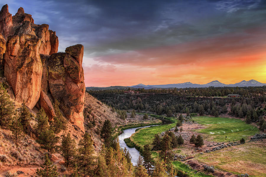 Sunset At Smith Rock State Park In Photograph by David Gn Photography