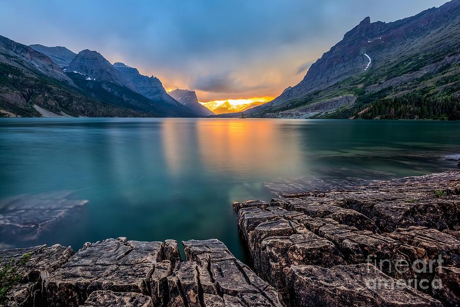 Beam Photograph - Sunset At St Mary Lake Glacier by Kan khampanya