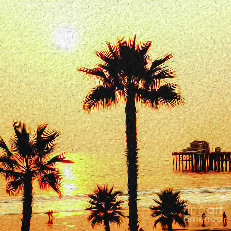 Sunset at the Beach in Oceanside California Digital Art by Kenneth Montgomery
