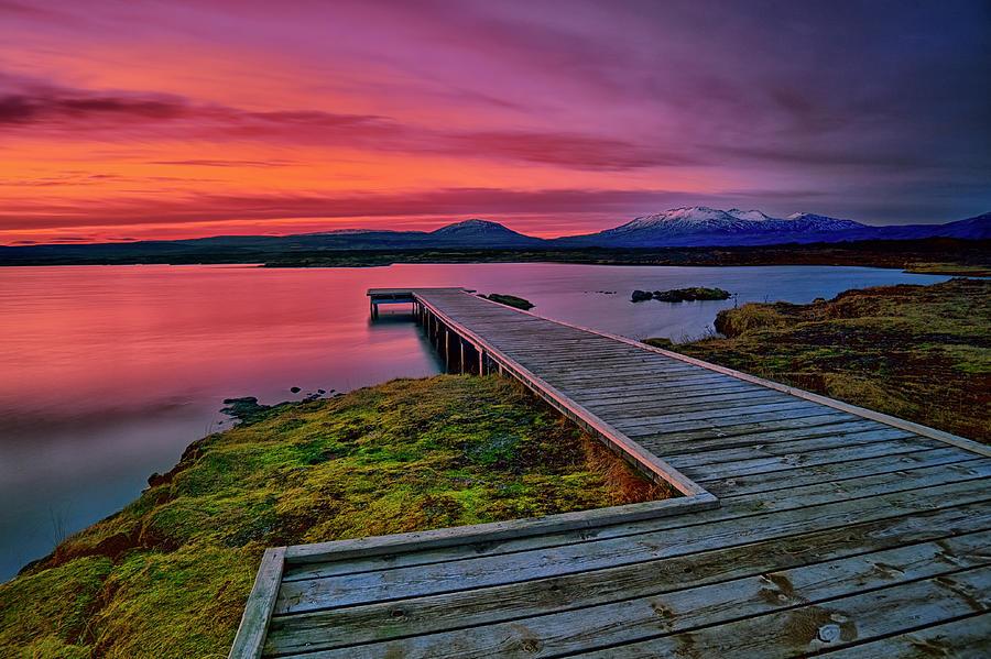 Sunset At Thingvellir Iceland Photograph by Aevarg