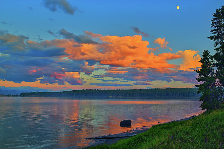 Sunset at Yellowstone Lake by Greg Norrell