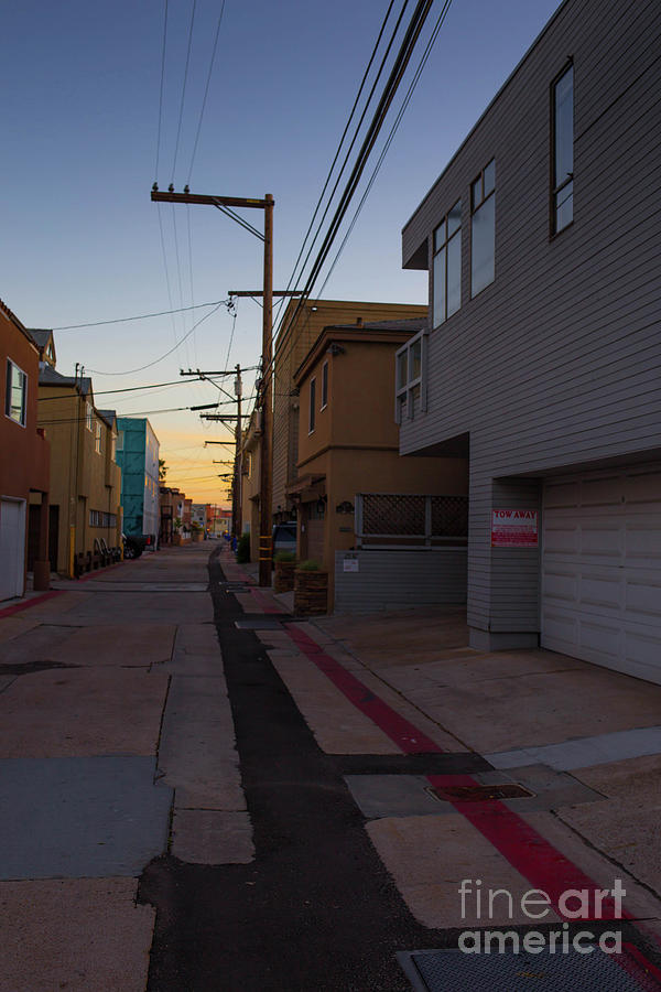 Sunset Photograph - Sunset Back Alley Mission Beach San Diego California by Edward Fielding