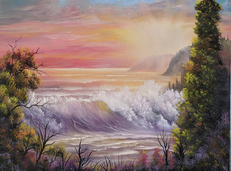 Landscape Painting - Sunset Beach by Teri Lindley