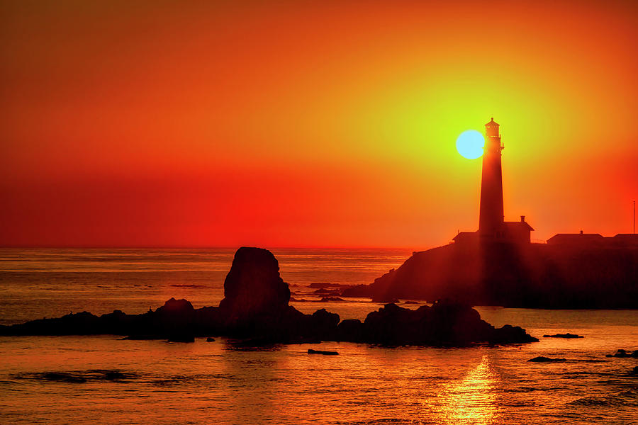 Sunset Behind Pigeon Point Lighthouse  by Garry Gay