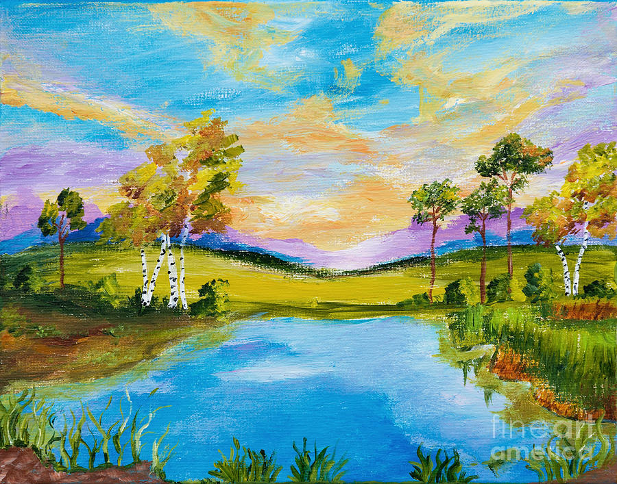 Sunset by the Lake by Art by Danielle