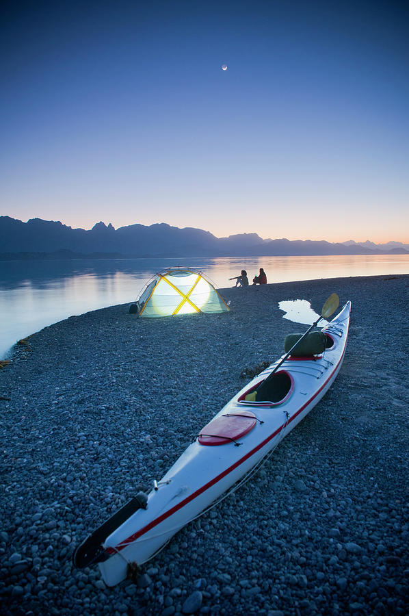 Sunset, Couple Beach Camping With Kayak Photograph by Stephen Simpson