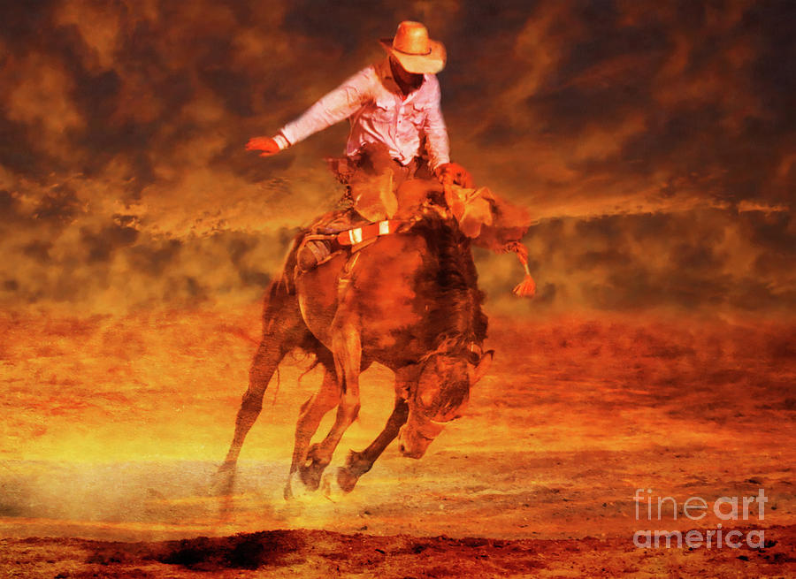 Rodeo Event Digital Art - Sunset Cowboy by Randy Steele