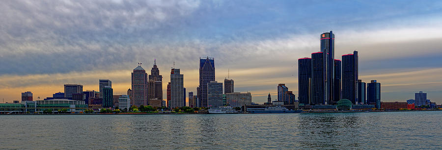Sunset Detroit Skyline Photograph