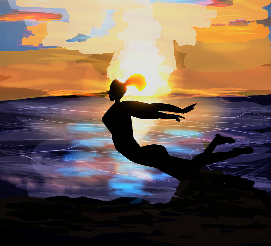 Sunset Digital Art - Sunset Dive by Kevin Branham