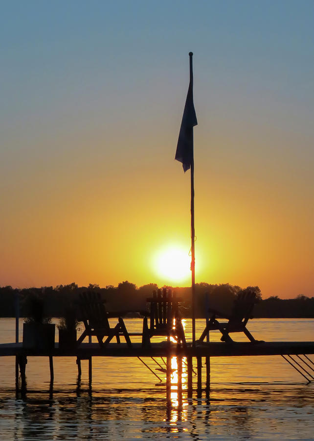 Sunset Dock Flag Silhouette by Patti Deters