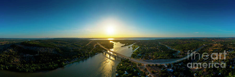 Pano Photograph - Sunset falls on the SH 29 Bridge over Inks Lake overlooking the Lake Buchanan Dam  by Herronstock Prints