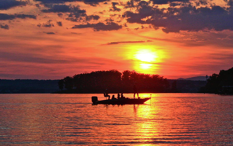 Sunset Fishermen, Smith Mountain Lake by James B Roney